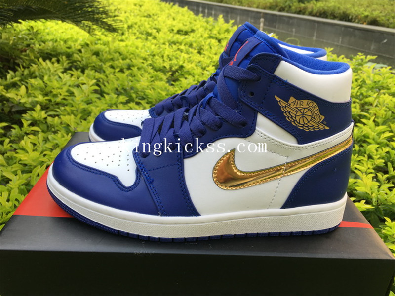 db0e09faa63877 Authentic Air Jordan 1 High Olympic Deep Royal Blue Metallic Gold ...